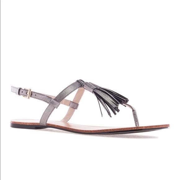 b6425bb2c2202 Metallic Silver Tassel Sandals